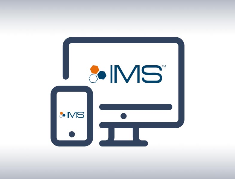 A vector image of monitor and phone with IMS logo inside.